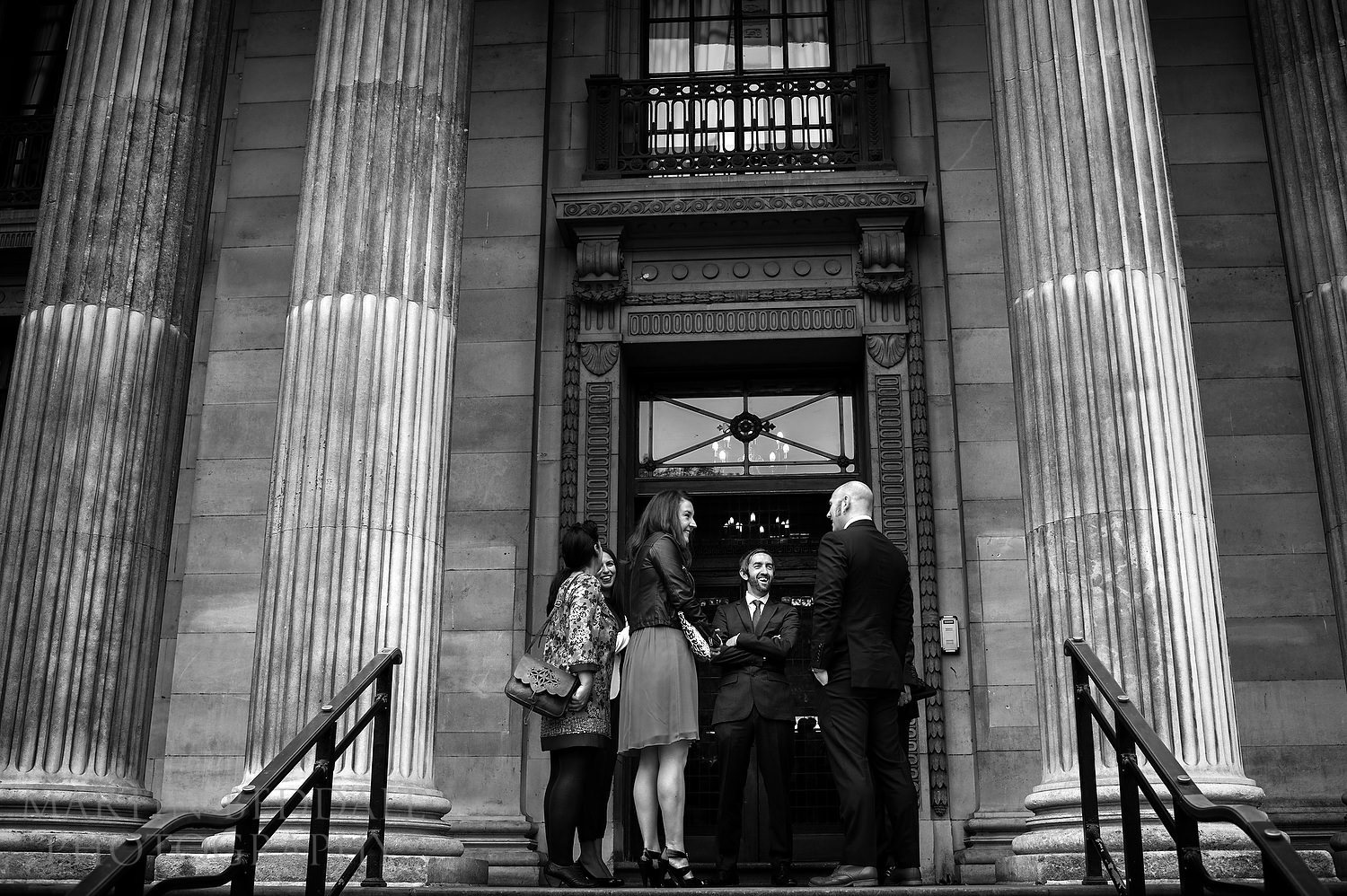 wedding guests outside Old Marylebone Town Hall