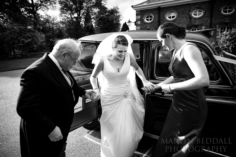 Bride arrives at Wellington College