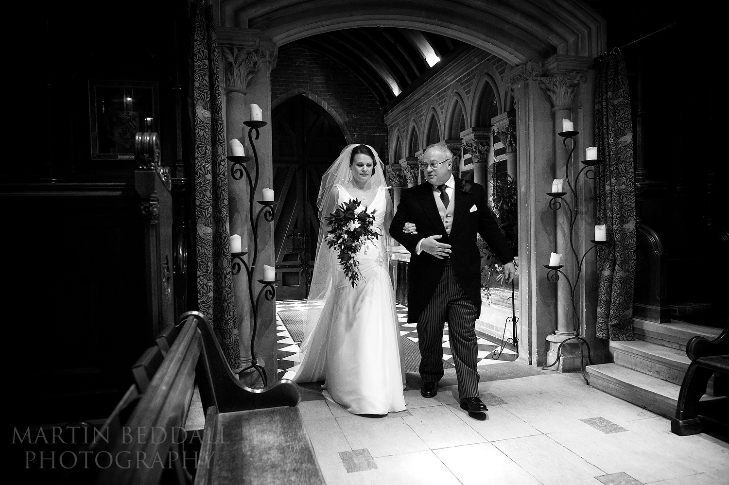Bride enters chapel with her father
