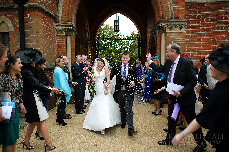 Confetti at Wellington College wedding