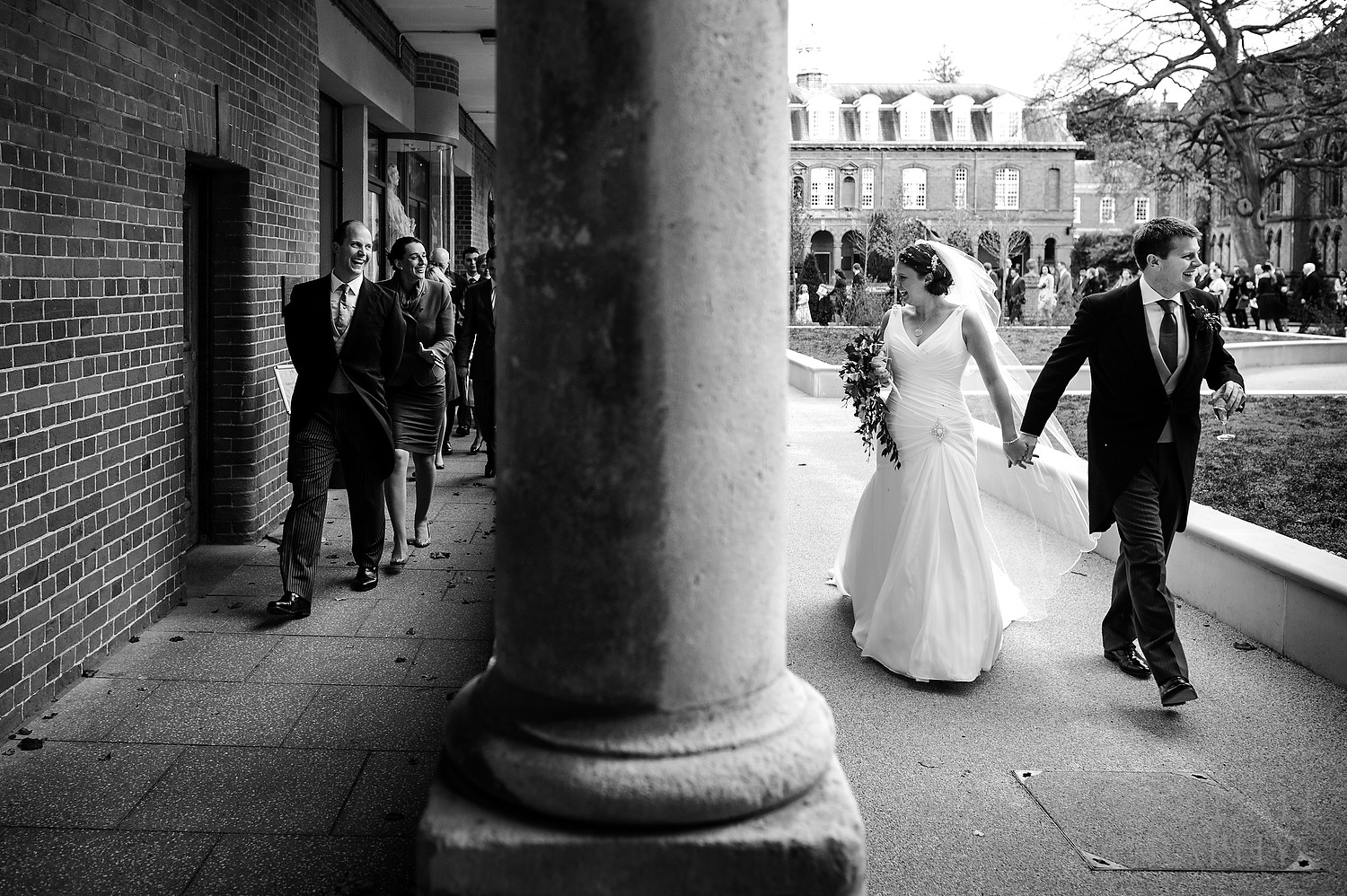 Leading wedding guests to the Great School