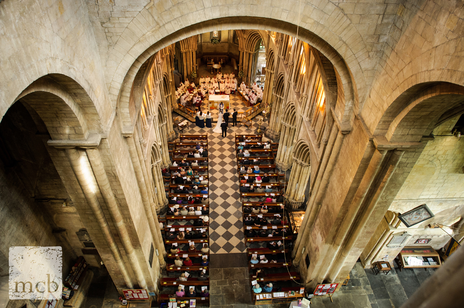 View of the ceremony from very high up in the tower above the nave at Pershore Abbey