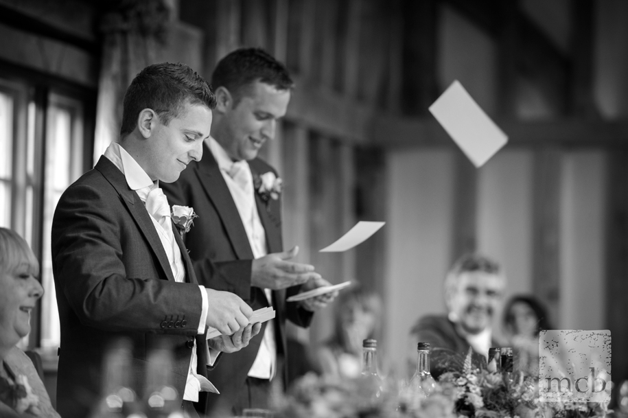 Best man discard their notes during the speeches