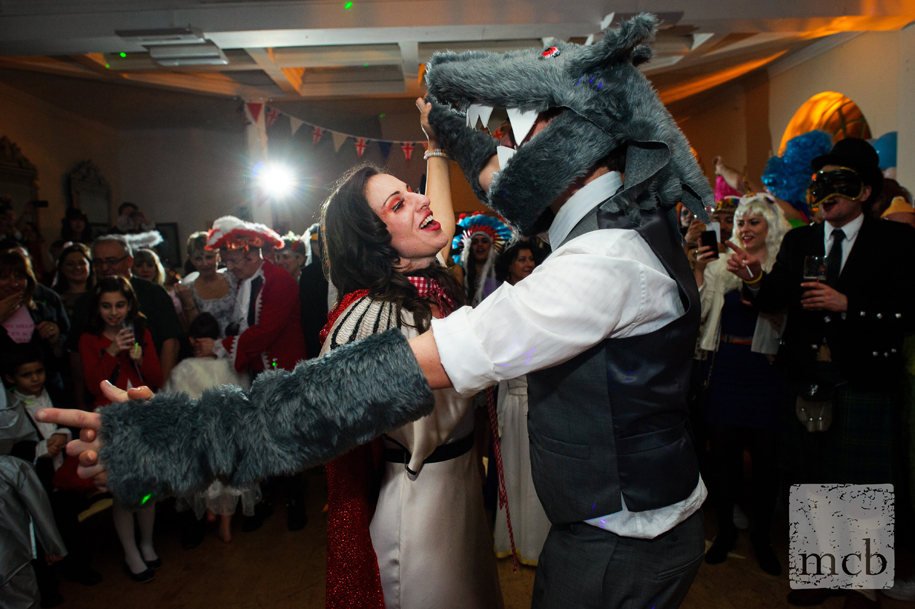 First dance with bride and groom dressed as little red riding hood and the wolf