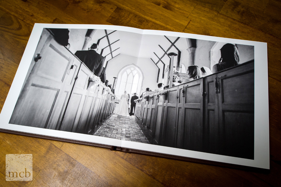 Invisible fold in an open wedding album