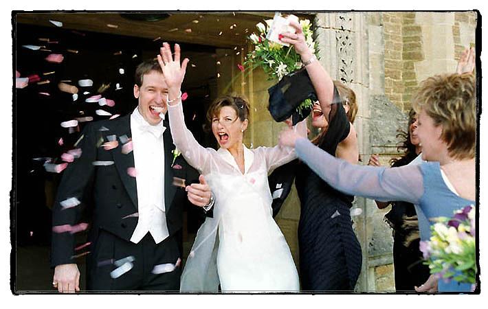 Happy bride leaves Charterhouse school chapel