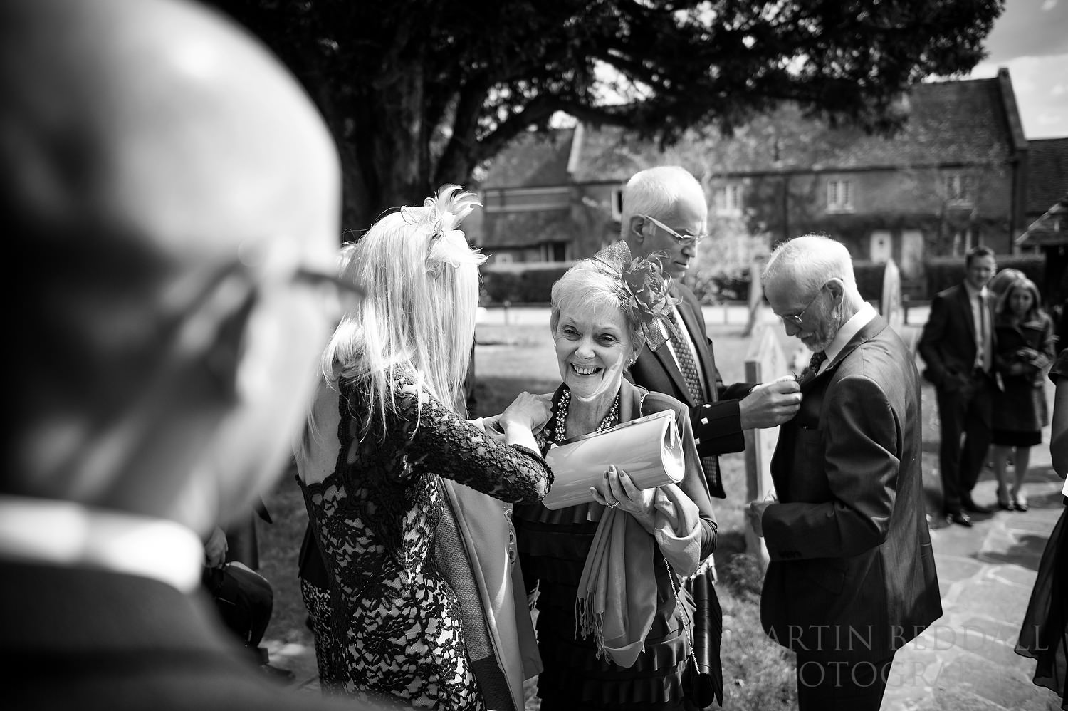 Family arrives at Newdigate church wedding