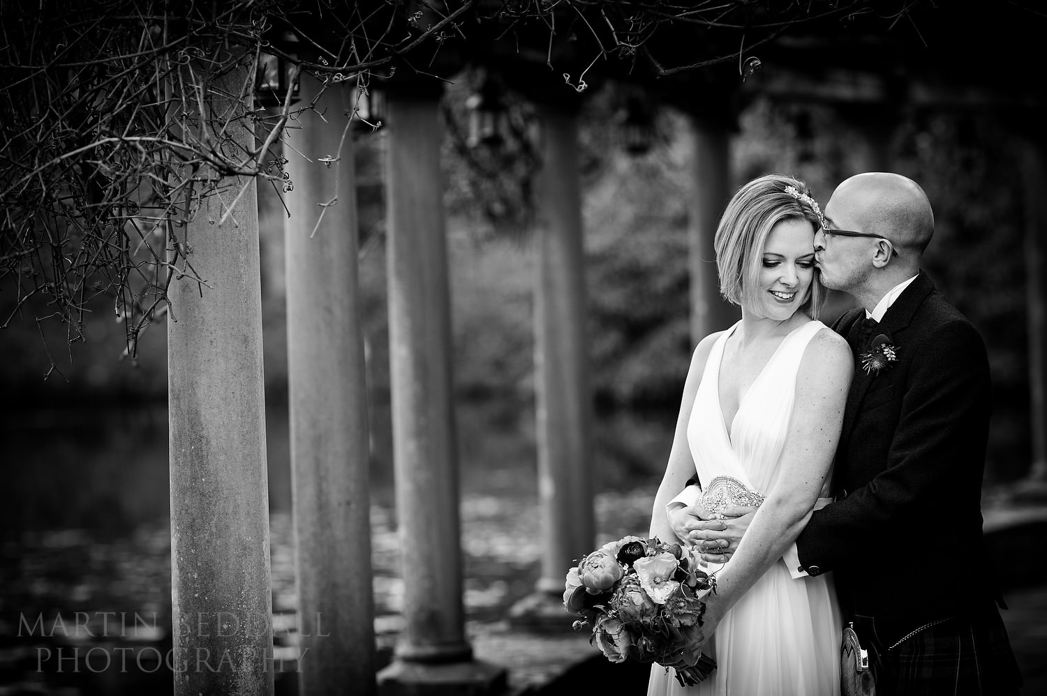 Bride and groom portrait at Coverwood Farm