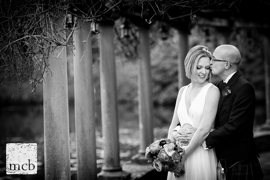 Bride and groom portrait at Coverwood farm in Surrey