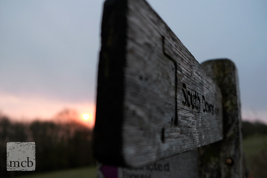 South Downs way sign at sunrise with a Fuji X-Pro 1