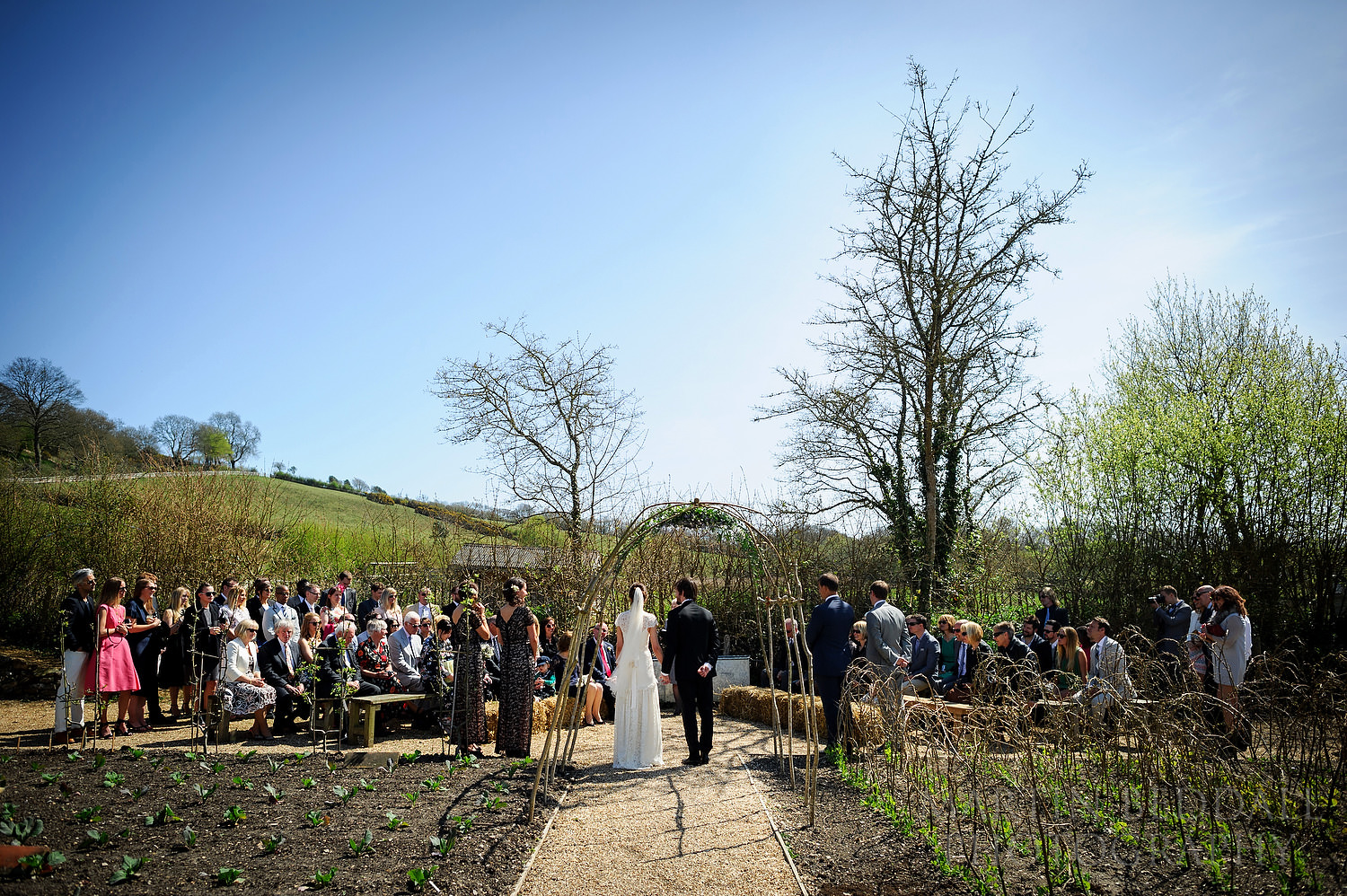 Outdoor wedding ceremony at River Cottage wedding