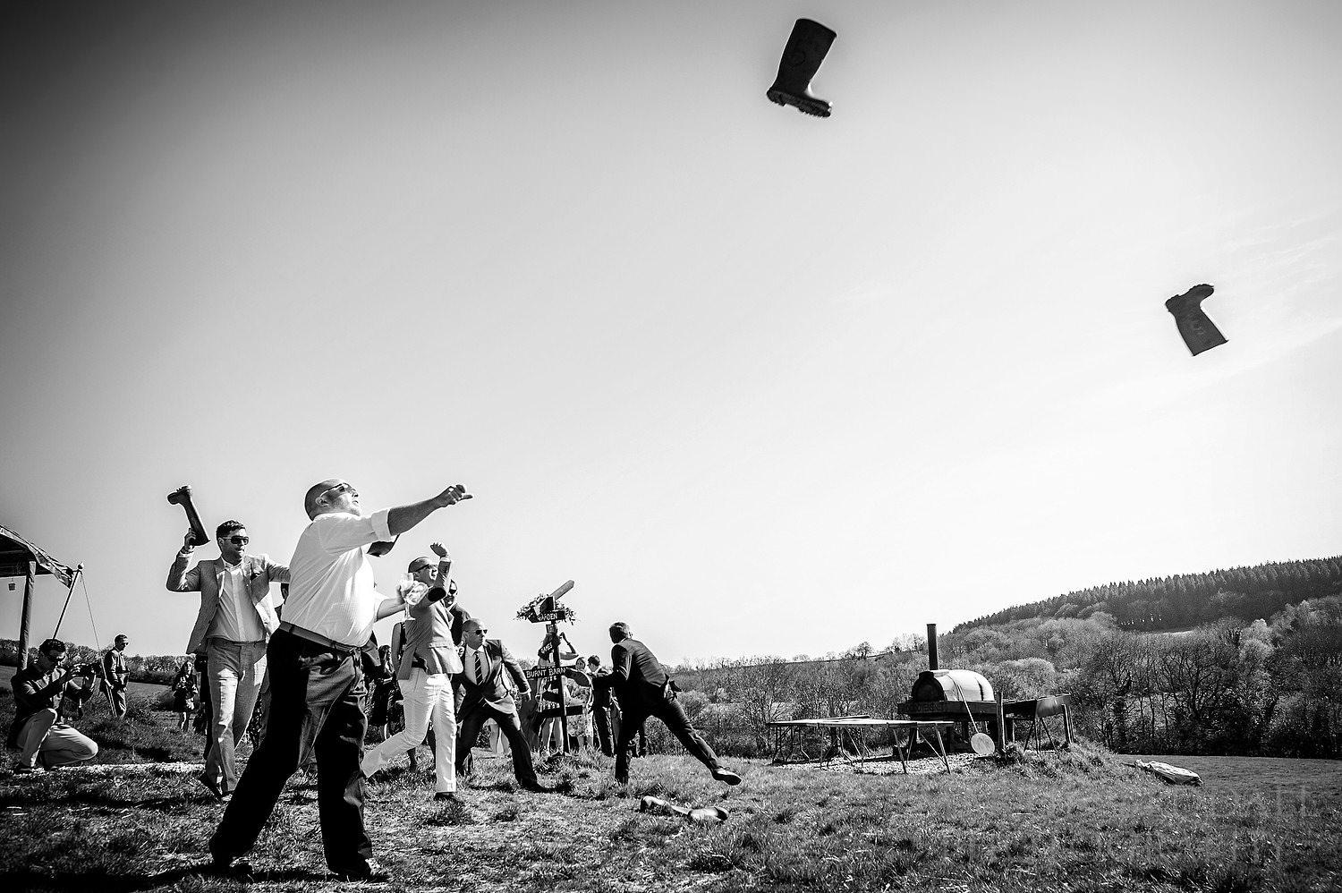 Welly throwing at River Cottage wedding