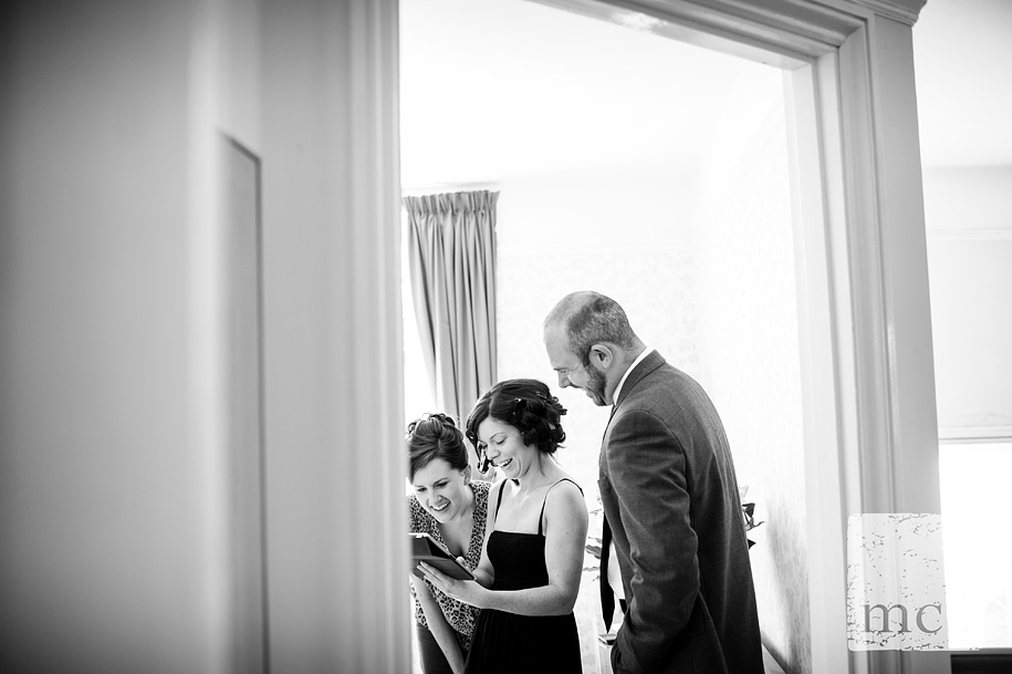 Bride shares ipad photos with friends