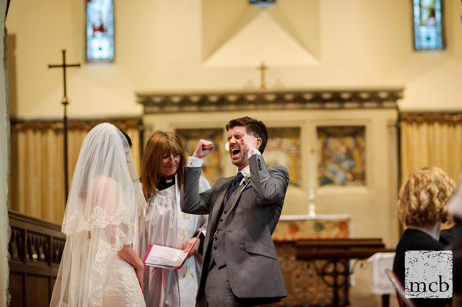 Groom punches the air when married