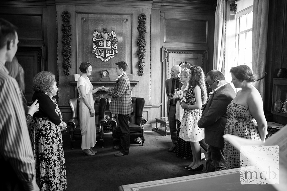 intimate wedding ceremony in the mayor's office at Islington town hall