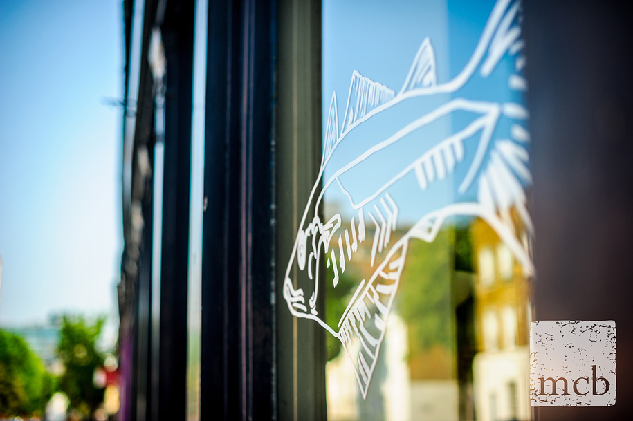 Fish motif on the pub window