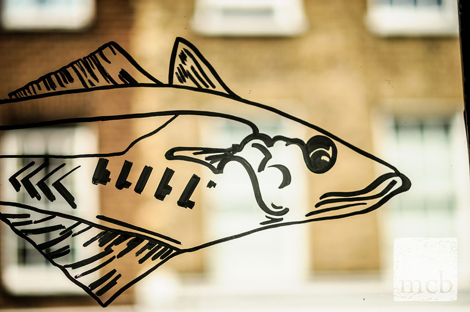 Fish motif on the window at the Duke of Cambridge