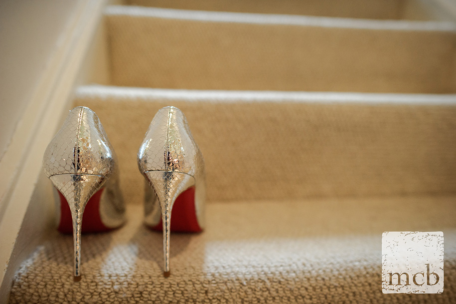 Bride's shoes on the stairs