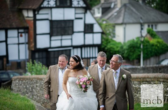 Bride arrives at Ditcling church
