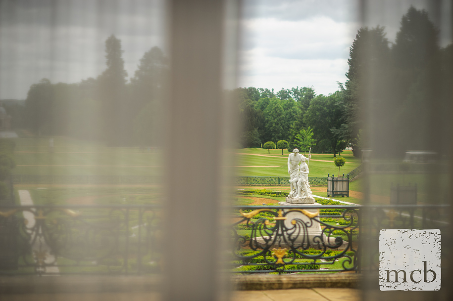 Garden statues at Wrest park seen from the mansion