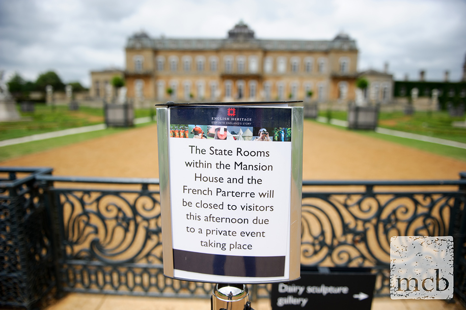 English Heritage notice ahead of the wedding at Wrest Park