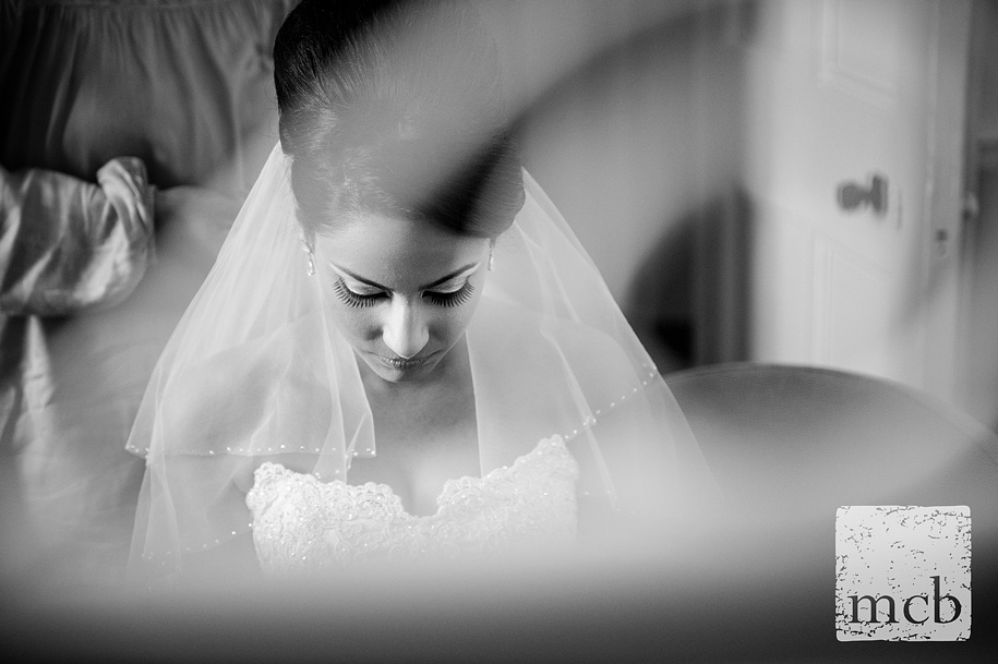 Beautiful Bride has her veil fixed