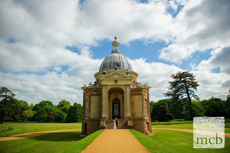 Bride and groom in front of the pavilion at wrest park