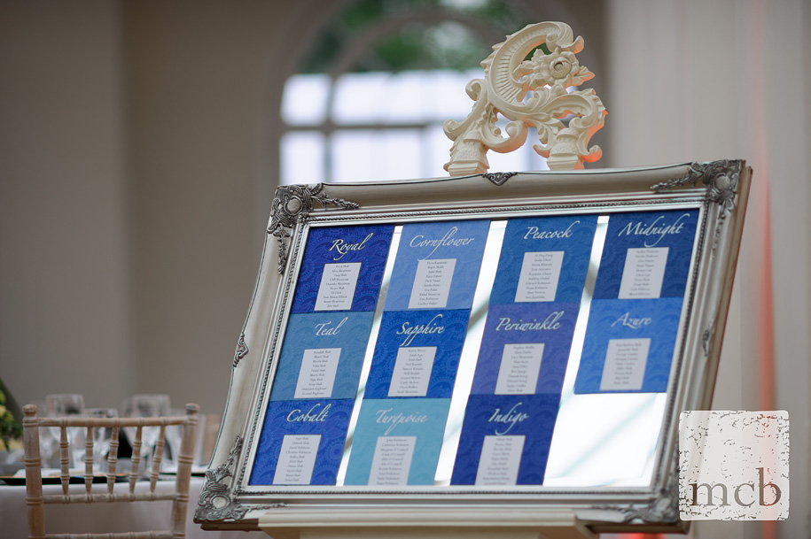 Table plan layout at Wrest Park orangery