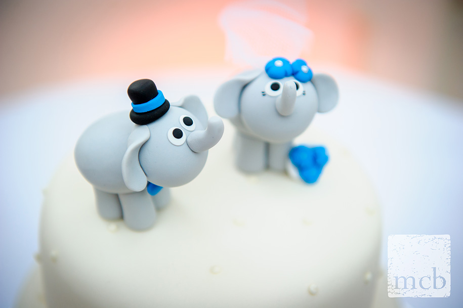 Detail of two elephants atop a wedding cake