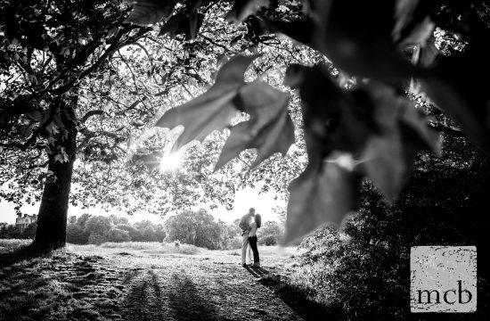 Couple kissing on Hampstead Heath