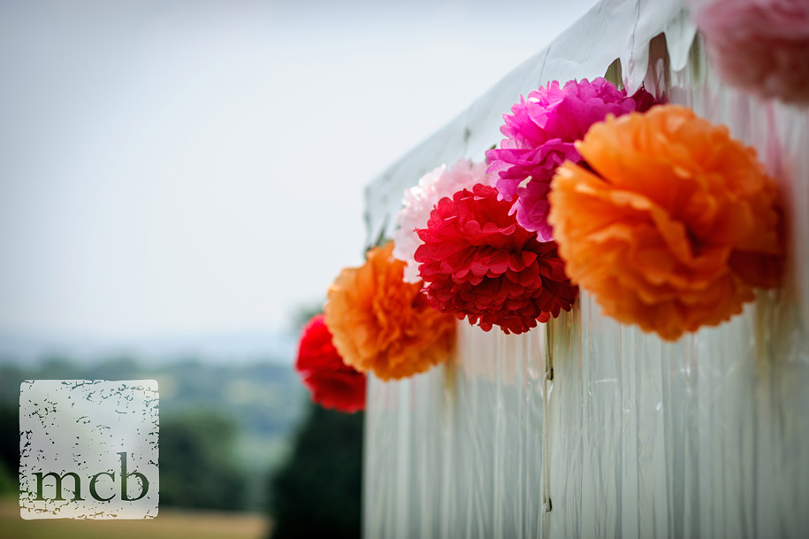 Colourful wedding decorations on a marquee