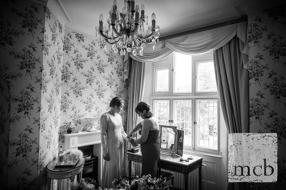 Bride getting ready at wadhurst castle