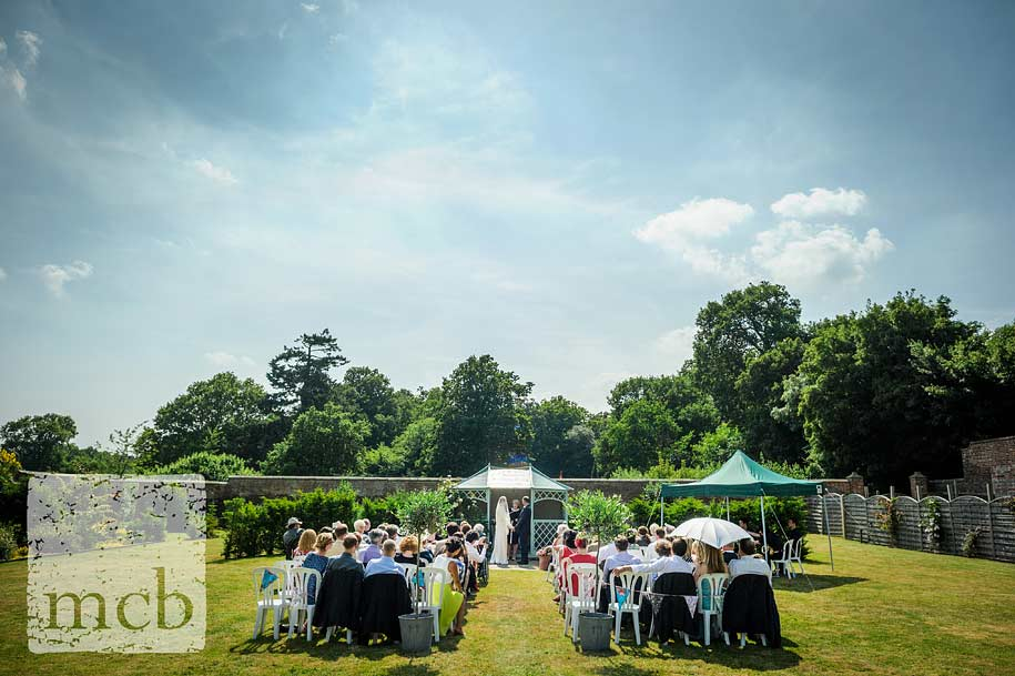 Wadhurst Castle wedding ceremony in the walled garden