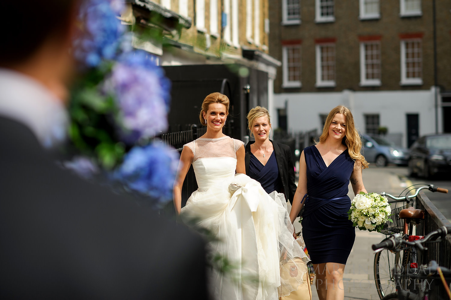 Bride arrives at the church in Marylebone