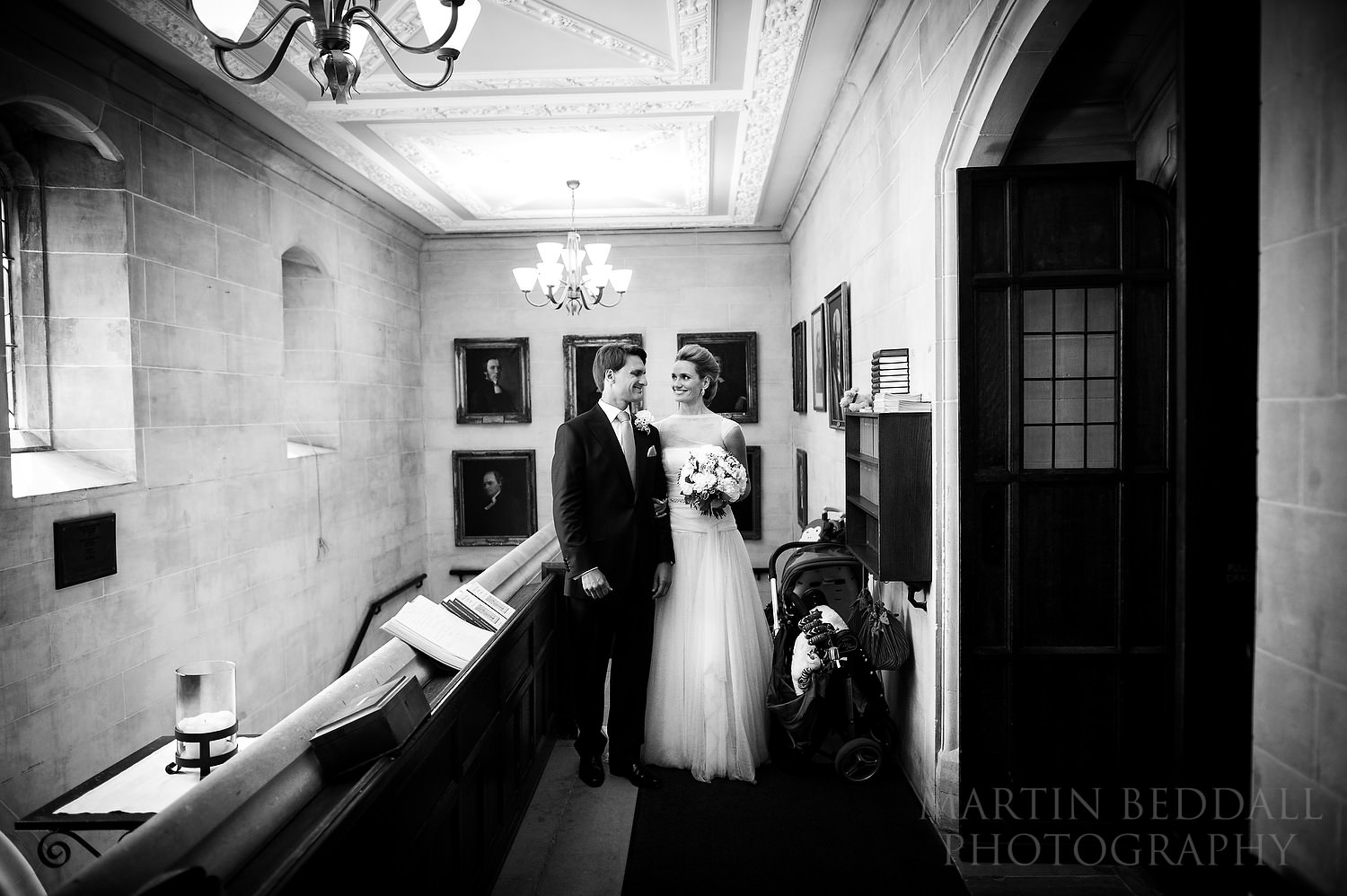 Bride and groom about to enter for the wedding ceremony at Ulrika Eleonora church