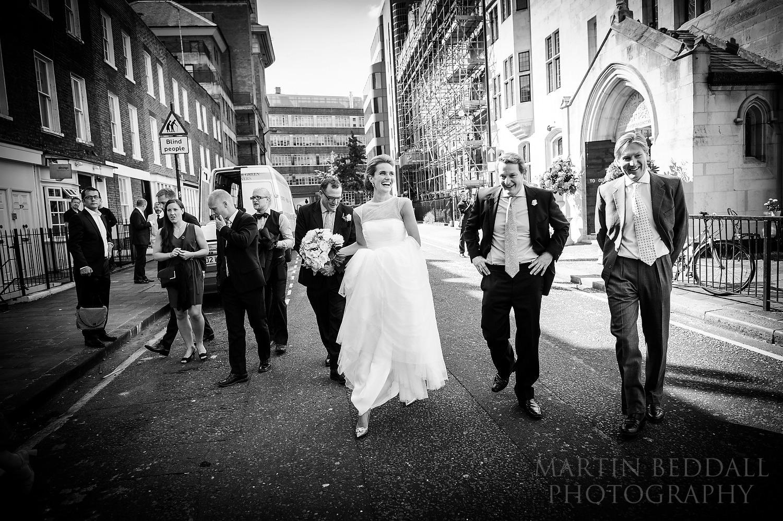 Bride outside the Swedish church in London