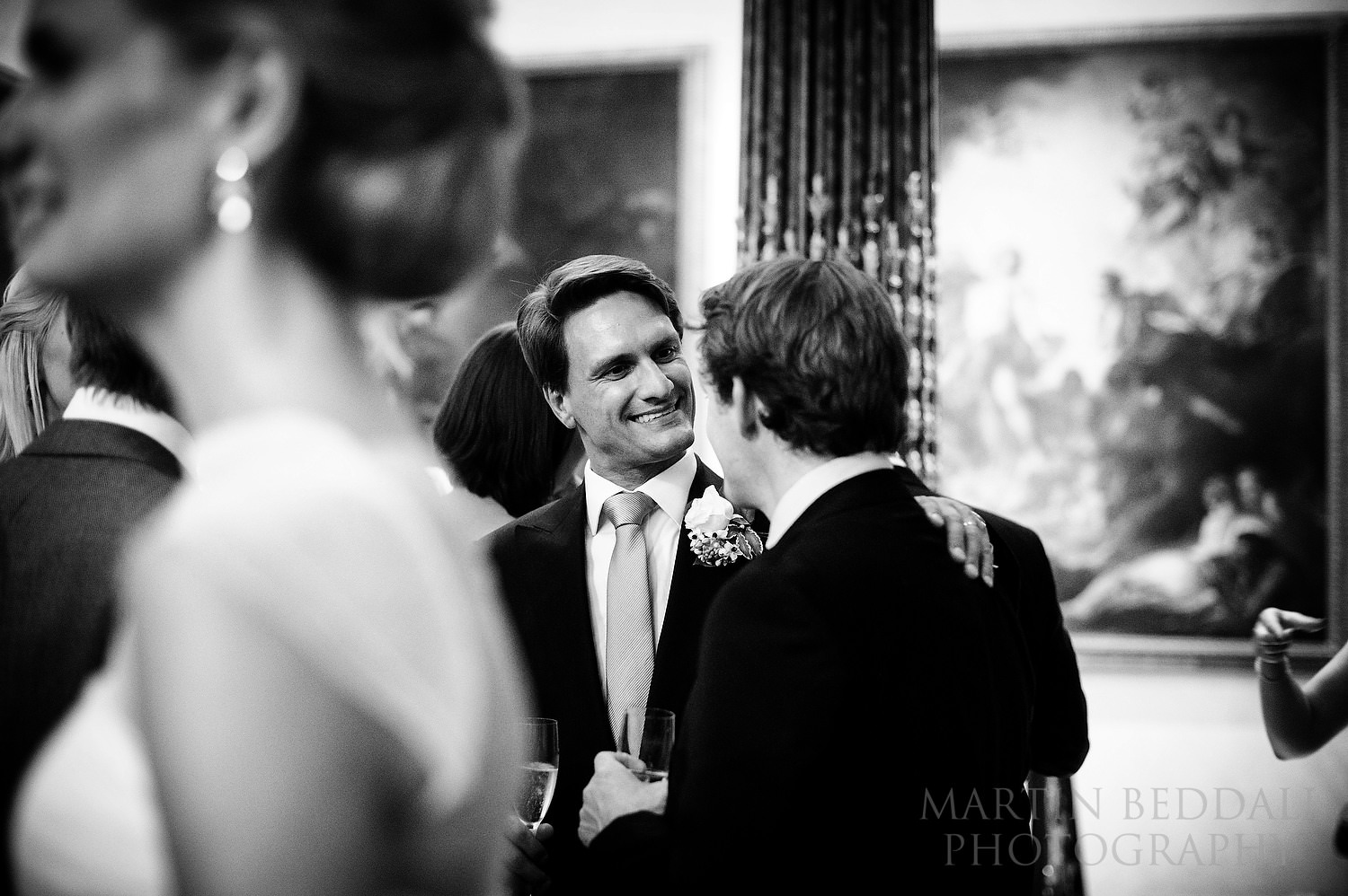 Groom at Wallace Collection wedding reception