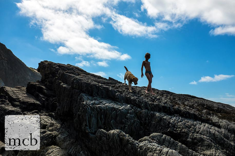 Boy and his dog explore rock pools
