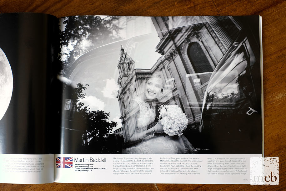 Martin Beddall's wedding photograph in Nikon Pro magazine