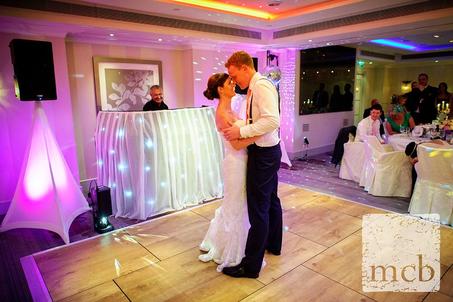 Bride an dgroom first dance at the Sofitel hotel in London