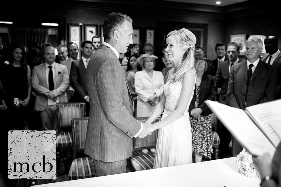 Saying their vows at the Waterside Inn wedding