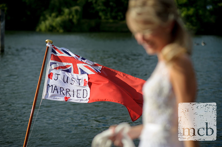 Just married sign on a boat's flag