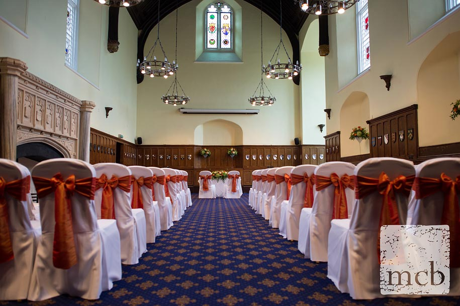 Horsley park Great Hall set up for a wedding ceremony