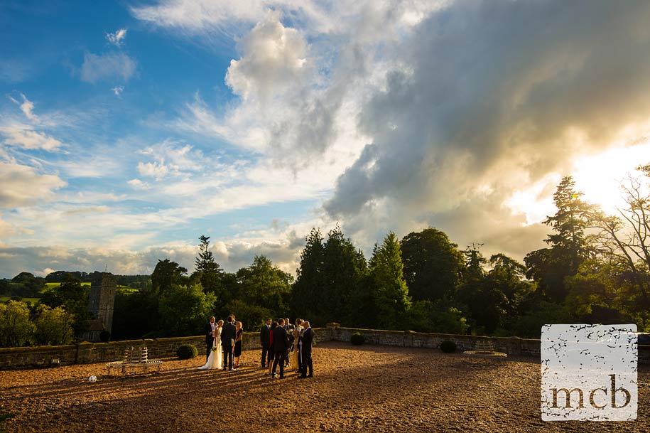 Evening sun at Huntsham Court wedding reception