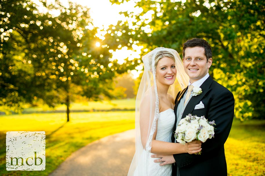 Bride and groom portrait at Newick Park