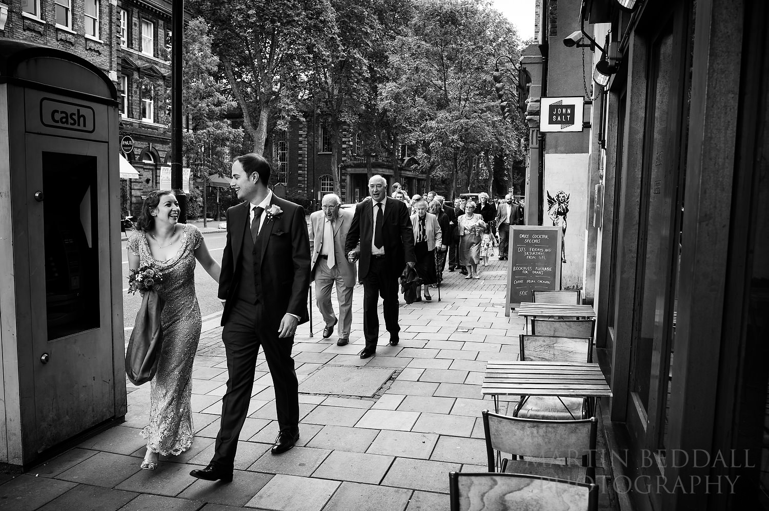 Leading the guest up Upper Street to the wedding mneal