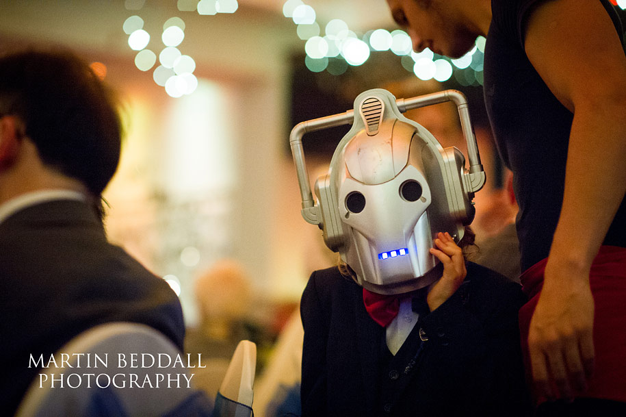 Child dressed as a cyberman at the wedding reception