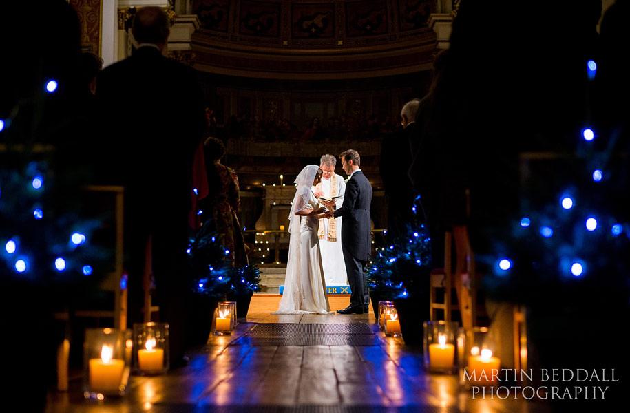 candlelit wedding ceremony in London