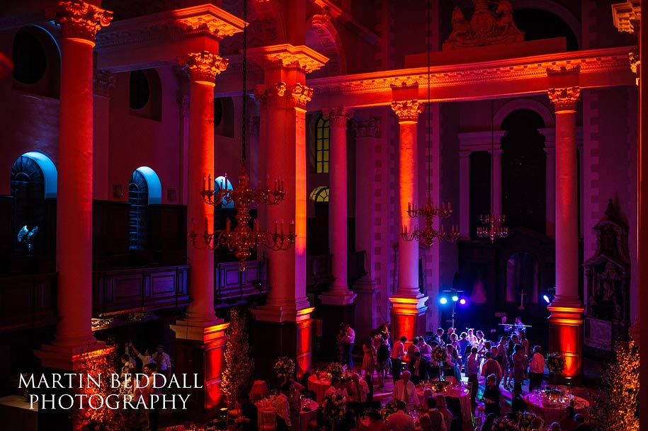 Colourful wedding reception party at Spitalfields church in London