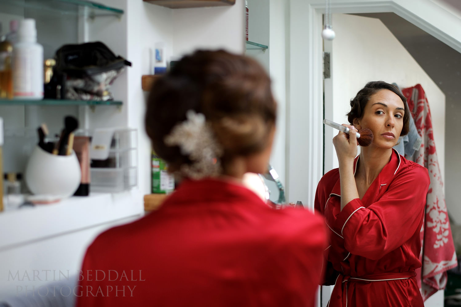 Bride getting ready in her flat